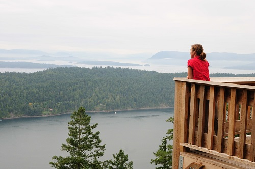 Jolie taking in the panoramic view of the Gulf Islands from Mount Norman, 890ft, Galiano Island_002